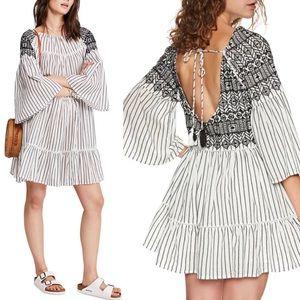 Free People Lola Striped Flounce Boho Mini Dress L